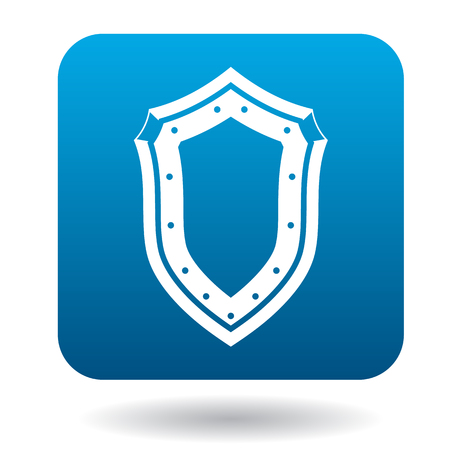 iron defense: Shield icon in simple style in blue square. Weapon for combat symbol Illustration