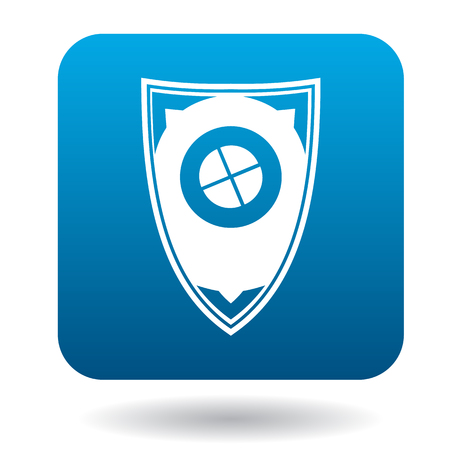 protective shield: Protective shield icon in simple style in blue square. Weapon for combat symbol