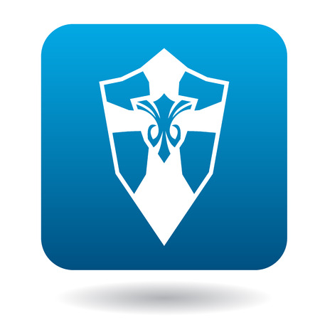 combatant: Shield with ornament icon in simple style in blue square. Weapon for combat symbol