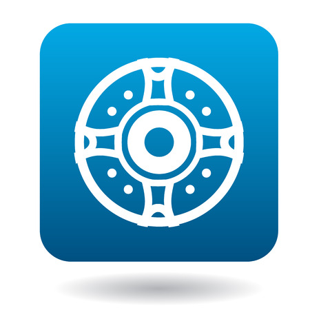 protective shield: Round protective shield icon in simple style in blue square. Weapon for combat symbol