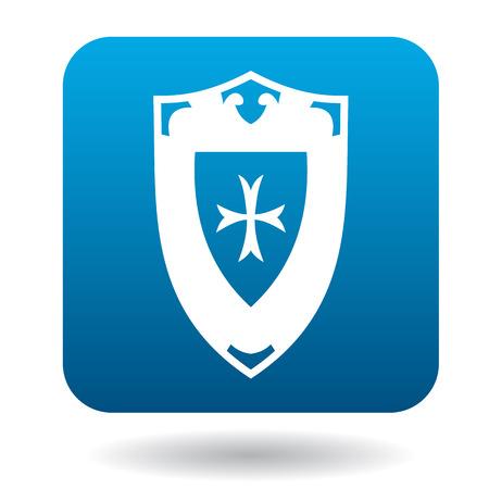 iron defense: Battle shield with ornament icon in simple style in blue square. Weapon for war symbol Illustration