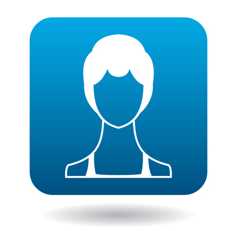 woman short hair: Avatar woman with short hair icon in simple style in blue square. People symbol Illustration