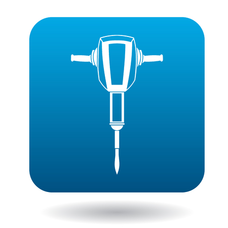 auger: Jackhammer icon in simple style in blue square. Tool symbol
