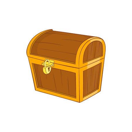 hoard: Wooden dower chest icon in cartoon style on a white background Illustration
