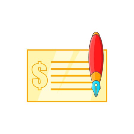 chequebook: Check and pen icon in cartoon style on a white background Illustration
