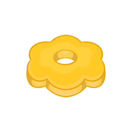 shortbread: Cookie flower shaped icon in cartoon style on a white background Illustration