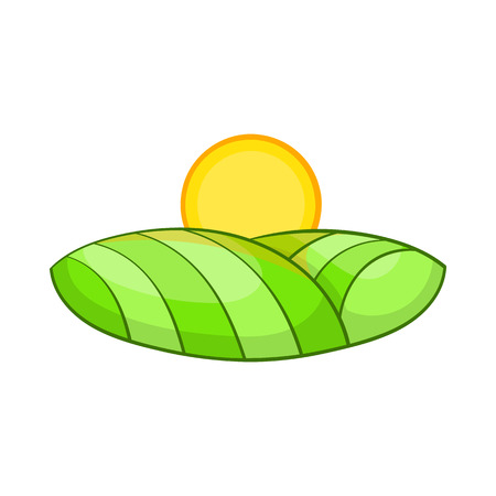 beautiful landscape: Green and sun icon in cartoon style on a white background