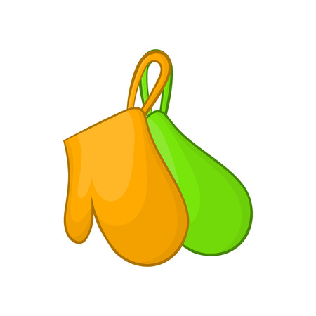 fireproof: Green and orange kitchen gloves icon in cartoon style on a white background Illustration