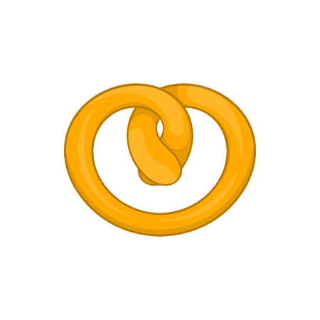 bretzel: Pretzel icon in cartoon style on a white background