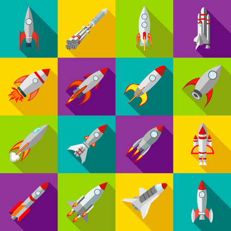 rocketship: Space rocket icons in flat style. Spaceship set collection vector illustration