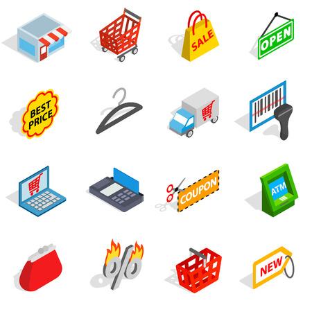Shopping icons dans le style 3d isométrique. Commerce set collection isolée illustration vectorielle Banque d'images - 59826450