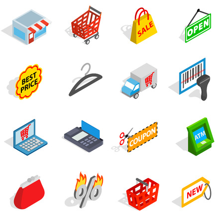Shopping icons in isometric 3d style. Commerce set collection isolated vector illustration