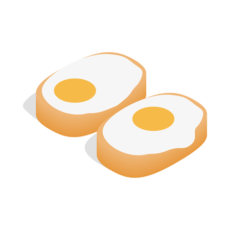 japanese culture: Traditional korean dish with eggs icon in isometric 3d style isolated on white background
