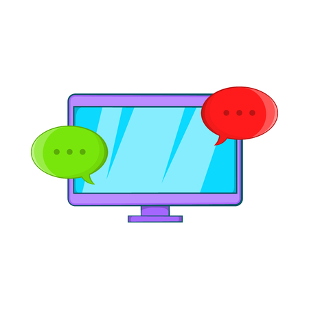 computer device: Messages on computer icon in cartoon style isolated on white background. Communication symbol