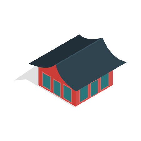 korean style house: Traditional korean house icon in isometric 3d style isolated on white background Stock Photo