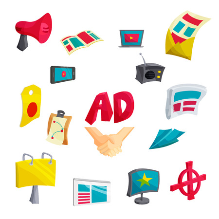 communication cartoon: Advertising icons set in cartoon style. Communication set collection isolated vector illustration