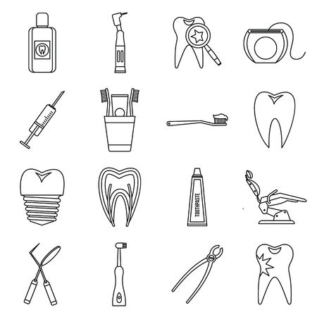 stomatology: Dental care icons set in outline style. Stomatology set collection isolated vector illustration Illustration