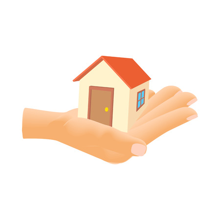 hand holding house: Hand holding house icon in cartoon style isolated on white background. Structure symbol