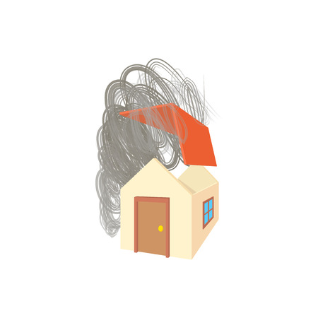 hurricane disaster: House broken by hurricane icon in cartoon style isolated on white background. Disaster symbol