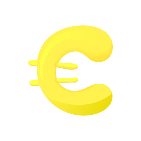 Euro Sign Icon In Cartoon Style Isolated On White Background