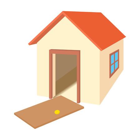 broken house: Broken door house icon in cartoon style isolated on white background. Wreckage symbol Illustration
