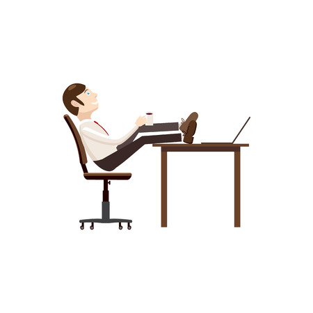 oneself: Man sitting with his feet on the table icon in cartoon style isolated on white background