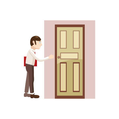 going away: Businessman with a folder goes to the door icon in cartoon style isolated on white background
