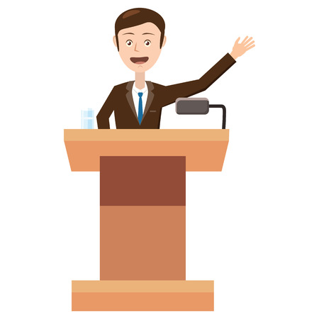 spokesman: Speaker makes a report to the public icon in cartoon style isolated on white background