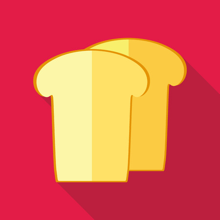 white bread: Piece of white bread icon in flat style on a pink background Illustration