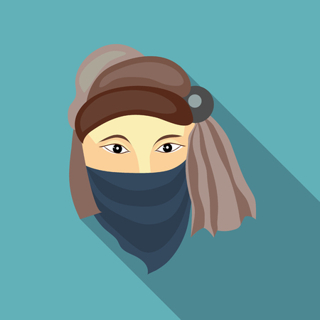 illegally: Muslim man icon in flat style on a baby blue background