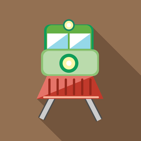 monorail: Train locomotive transportation railway icon in flat style on a coffee background