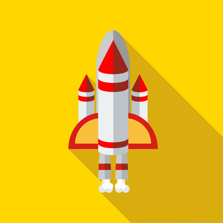 shuttle: Space shuttle icon in flat style on a yellow background
