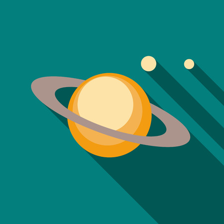 and saturn: Saturn planet icon in flat style on a turquoise background