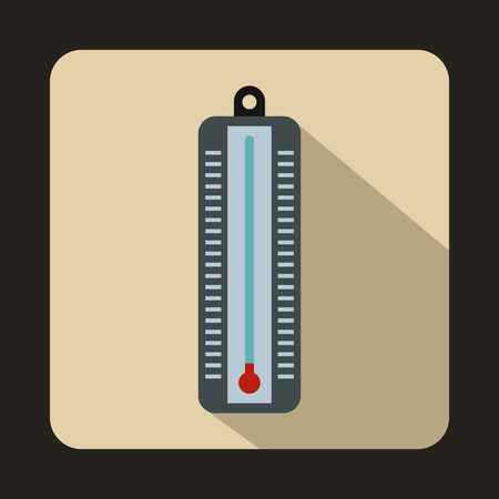 low temperature: Thermometer indicates low temperature icon in flat style on a beige background