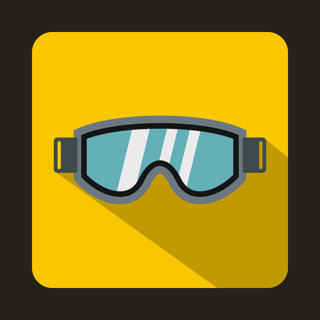 ski wear: Skiing mask icon in flat style on a yellow background Illustration