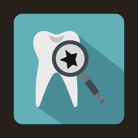 carious: Tooth with magnifying glass icon in flat style on a baby blue background Illustration