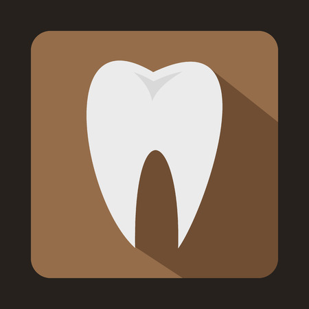 carious: White tooth icon in flat style on a coffee background