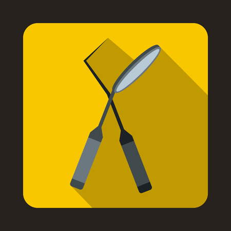 carver: Tooth instruments for dental medicine icon in flat style on a yellow background