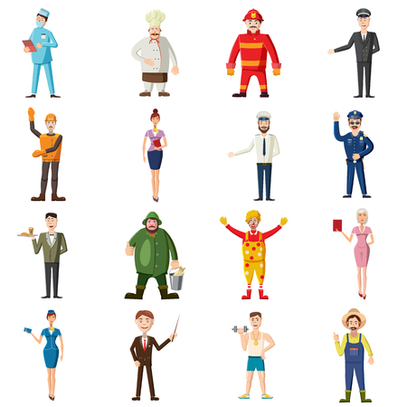 Professions icons set in cartoon style. Worker set collection isolated vector illustration Vektorové ilustrace