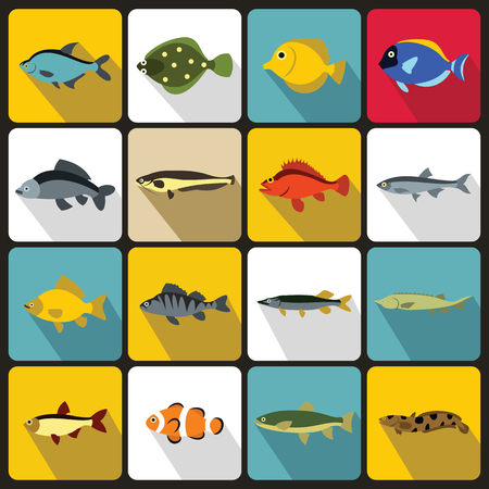 small group of animal: Cute fish icons set in flat style. Sea set collection vector illustration Illustration