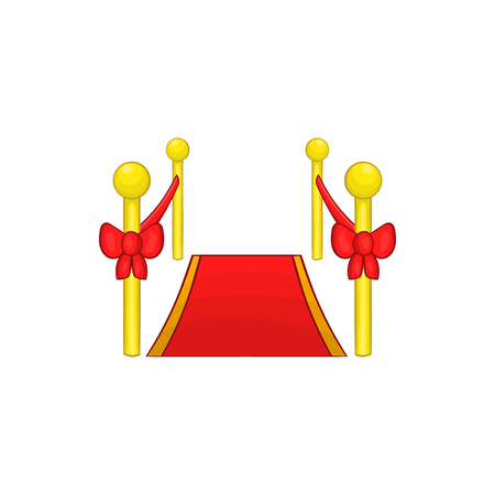 stanchion: Red carpet icon in cartoon style isolated on white background. Rewarding symbol Illustration