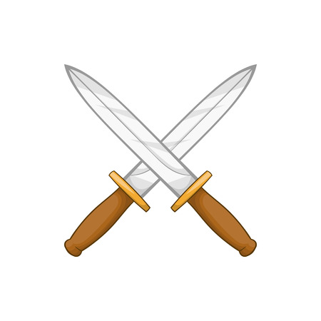 iron defense: Knives icon in cartoon style isolated on white background. Weapons symbol Illustration