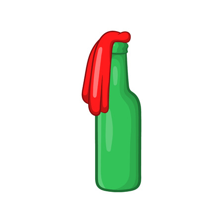incendiary: Molotov cocktail icon in cartoon style isolated on white background. Incendiary mixture symbol