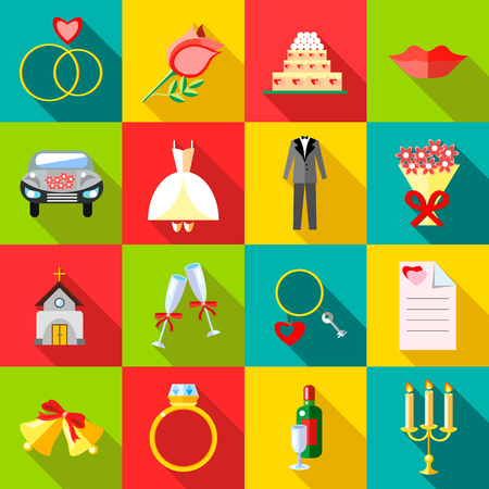 night suit: Wedding icons set in flat style. Ceremony set collection vector illustration