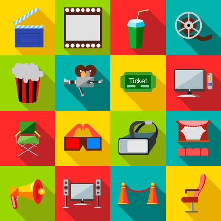 film set: Cinema icons in flat style. Film set collection vector illustration