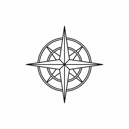 navigational: Ancient compass icon in outline style isolated vector illustration