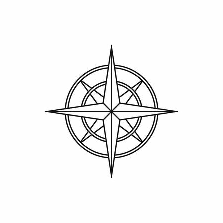 brujula antigua: icono de br�jula en la antigua ilustraci�n vectorial estilo de esquema Vectores