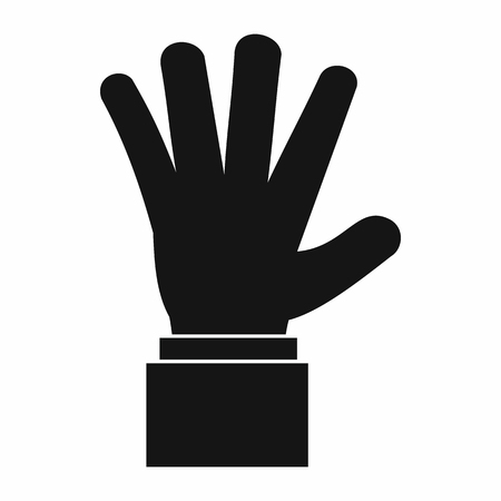 hi five: Hand showing five fingers icon in simple style isolated vector illustration