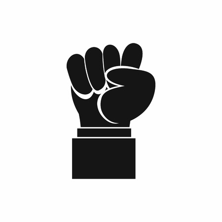 clenched: Raised up clenched male fist icon in simple style isolated vector illustration