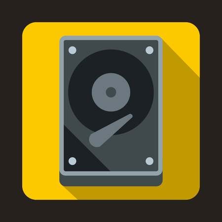 harddrive: HDD icon in flat style on a yellow background